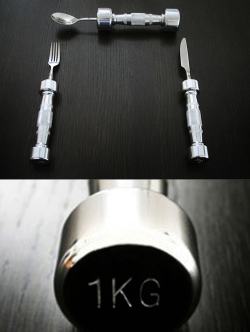 diet industry revolution? ;) Dumb-Bell Cutlery from from Cheeky.com