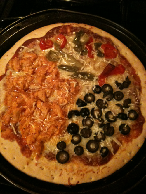 I couldn't decide which toppings I wanted.   1/3 buffalo chicken 1/3 black olive 1/3 pepper and onion 1/1 delicious