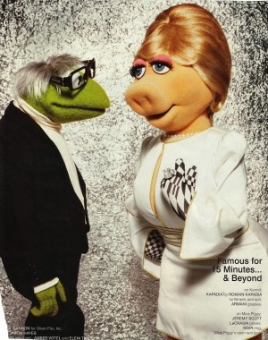 Kermit as Warhol, and Miss Piggy as what I think is Edie Sedgewick