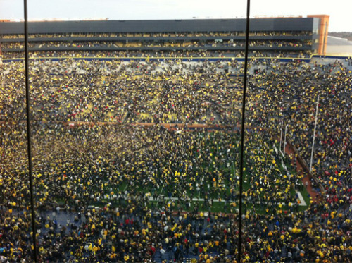 The Big House after Michigan's 40-34 win over Ohio State. The win ended a seven game losing streak.
