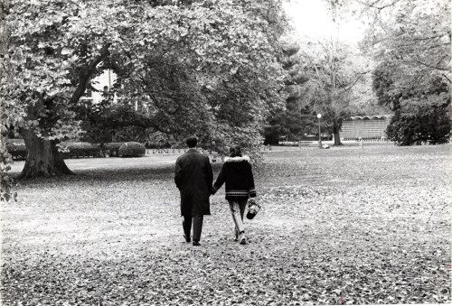 A couple take a walk on the Library lawn during a weekend visit, c.1964. The college began admitting men in 1969.  October, 2011 - Vassar Homepage Archive