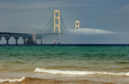 "wonderingorbit:  ""Bridge to Nowhere"" Foggy Mackinac Bridge - Mackinaw City , Michigan. by Michigan Nut"