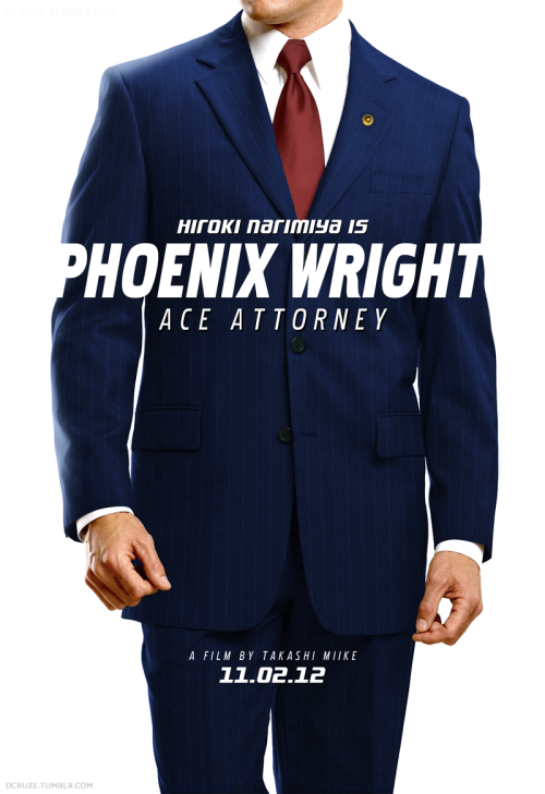 My take on a teaser poster for the upcoming live adaption of the Phoenix Wright video game by Takashi Miike (Yes the same guy who did the batshit insane 'Ichi The Killer').  Very simple photo manipulation. I tried using fancy styles and gradients for the typography but it kept looking cliche & corny. Using just white text whilst overlapping it into the background kept it interesting enough without going overboard with crazy colours.