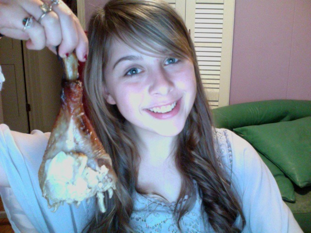 casually eating an entire turkey leg for dinner. and i curled my hair. which is 98% for sure going to be gone tomorrow
