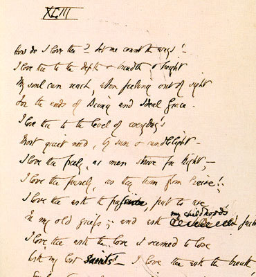 "fuckyeahmanuscripts:  Manuscript of Elizabeth Barrett Browning's famous ""How Do I Love Thee"" Sonnet 43, 1850"