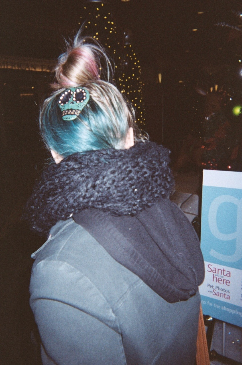 blue hair. sugar skull.