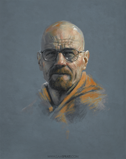 "samspratt:  ""Breaking Bad"" - Portrait Progress by Sam Spratt I sadly never got around to fleshing this sketch out as I had initially planned, but nonetheless, I'm positively giddy for the premiere of Breaking Bad tonight."