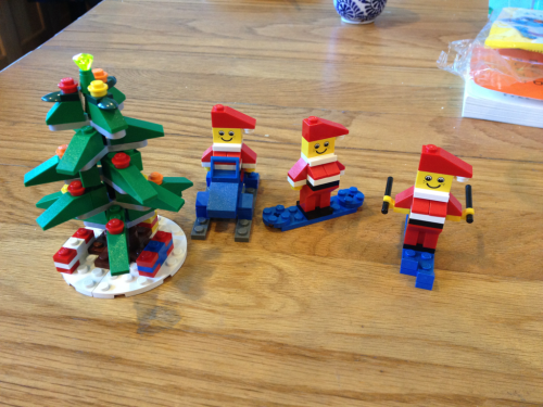 Holiday party in Lego land in my house. If only Santa rode the snowmobile every year!