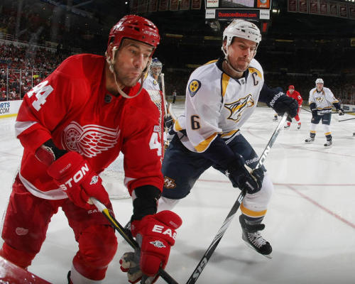 Todd Bertuzzi of the Detroit Red Wings and Shea Weber of the Nashville Predators.