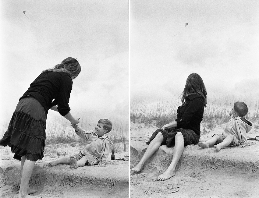 "Classic B&W - Miles learning how to fly a kite on Oak Island beach (North Carolina) I am a portrait and wedding photographer in Greensboro, NC. One of the benefits of living in the middle of the state is that, during the summer, making beach trips is quick and easy. These photos were not taken in the summer, they were actually taken right around February…it was a bit chilly, but it's never too cold to enjoy the beautiful North Carolina beaches. I call this a ""Classic B&W"" portrait because it has a look that is nearly timeless. Sure, there are a couple elements that ""date"" the photograph (namely Miles' jacket). However if you imagine for just a moment, this photo could have been taken in 2011 (which it was) or 1911. This ""timeless"" sort of look is often what I'm after when shooting B&W.  In the left pane, you can see Miles smiling with excitement as he's handed the line for the first time. And then, in the right pane…success! Shot with a Nikon F5, 50mm f1.4 lens. Using Fuji Neopan 400 B&W film, rated at 800ASA and developed in Diafine.   © Andrew Pearson 2011 www.aepearson.comwww.facebook.com/aepearsonphoto"