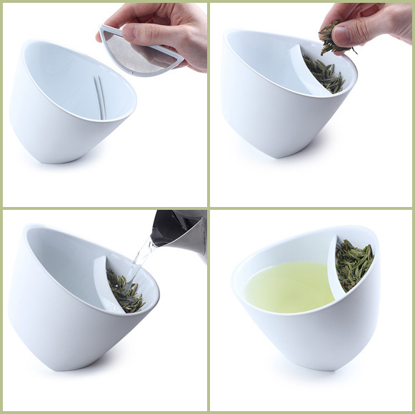 "thedailywhat:  Tea For One of the Day: Winner of the 2011 Red Dot Design award, Laura Bougdanos and Vesa Jääskö's Magisso Teacup is tipped to allow tea lovers to pour hot water over a specialized compartment for their favorite loose leaves. ""Once it's done, simply tip the cup in the other direction, lifting the leaves up out of the water."" Comes in Pure Black or Snow White. $20 @ UncommonGoods.  This would be so useful!"