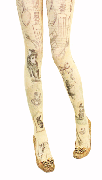 "dollymacabre:  Beautiful tights from Grimoire's new Dolly Kei brand, ""Verum""."