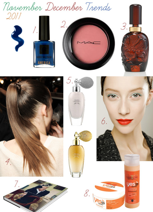 "Want to know the trends in beauty for this November and coming month of December? Read on… 1. Navy blue nail polish is the hottest thing this fall. Though November is almost over, you still have a couple weeks time to rock it. In the picture: Glossy Nail Polish America, La Ric.2. Cream blushes are in. Not just for November but for the entire winter time. Why? Because they will add a beautiful natural glow with a moist feel, instead of a matte finish.  In the picture:  Posey by MAC.3. Any fragrance you like really. But as a winter and fall pick my vote goes to Aromatics Elixir Perfumer's Reserve by Clinique - lovely fragrance released for its 40th birthday as a modern interpretation of Chant's original. It has simple and elegant notes: tuberose, jasmine sambac oil, verbena, patchouli oil and oak moss. 4. High ponytail is the highlight hair style of this fall, though it is almost over I dare you to continue this trend into the winter. In the picture: a girl from Marc Jacob's fall show, backstage.5. Get your sparkle on this festive season! Use body shimmers, sparkly creamers, highlight products and glitter - all means will do ;) In the picture: Tarina Tarantino Shimmer Dust  in silver and gold.6. Go red or go home. Red & orange lips are a big trend. I love them both equally. Right now I am rocking my Revlon's red lipstick or an orange lip tint by Lush. 7. Daphne Guiness. Who is she? Look her up online or read a book. You'd better know who she is as by the end of December MAC is going to launch LE product line by her, a woman who inspired Alexander McQueen. 8. Prepare your skin for this winter by stocking up on skin nourishing cremes, shower gels (soaps actually dry up your skin), body butter etc. In the picture: ""Winter Skin Care Boost"" by Yes To Carrots, a natural product company.  Diana ♥"