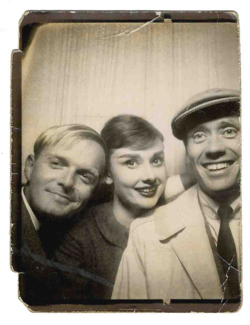 hollyhocksandtulips:  Photo booth - Truman Capote, Audrey Hepburn and Mel Ferrer