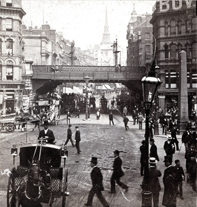 Ludgate Circus from Fleet St., London, England sometime during the turn of the century.