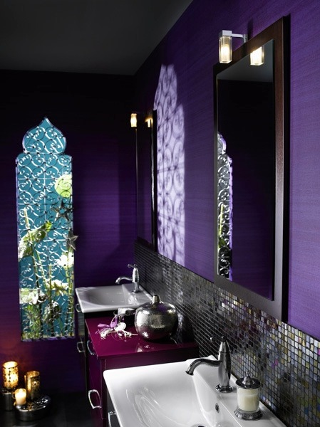 My Bohemian Home ~ Bathrooms and Powder Rooms  This purple is delicious!