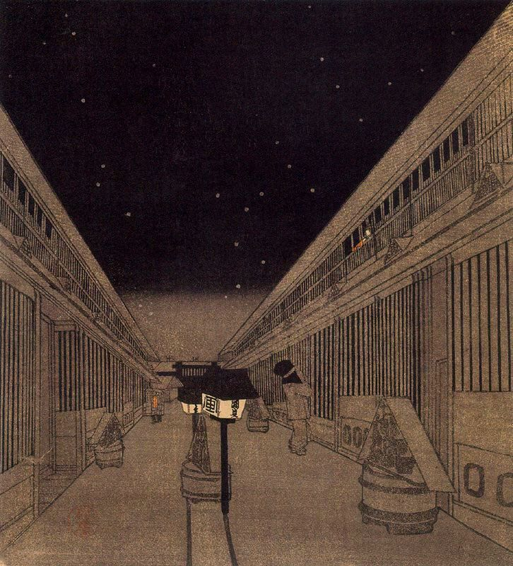 in-the-gloaming:  mrkiki:  Utagawa KunisadaThe Central Street of the Yoshiwara in the early morning. 1830210 x 190 cm.