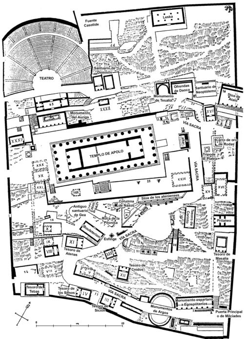 acidadebranca:  Black & White Plans [220] Site plan of the Sanctuary of Apollo, Delphi  via