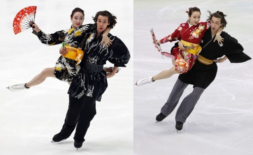 Cathy and Chris Reed's Japanese folk dance costumes. Photos from the 2009 NHK Trophy and the 2010 Olympics. Source: www.zimbio.com