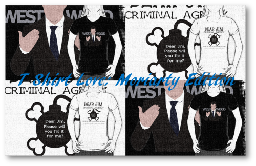 """Moriarty"" by curiousfashion versus ""Dear Jim"" by consulttimelord Both found on RedBubble"