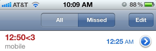 the one time I receive a call, and I miss it :/ fml.