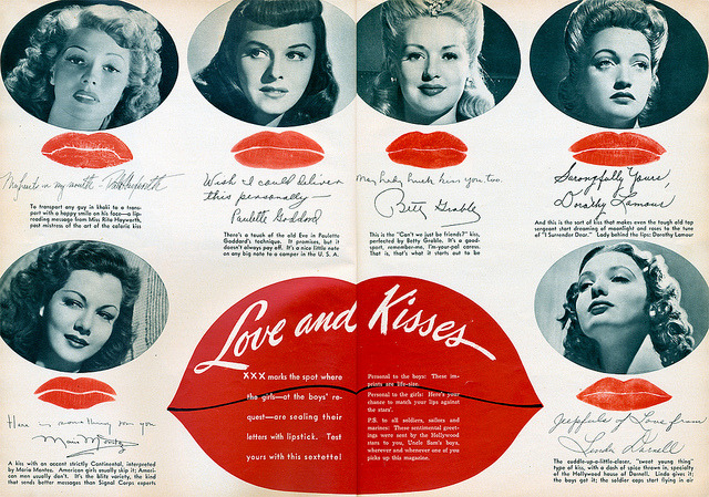 Hollywood Kisses two page spread from the February 1943 Photoplay/Movie Mirror magazinewith Rita Hayworth, Paulette Goddard, Betty Grable , Dorothy Lamour, Maria Montez and Linda Darnell