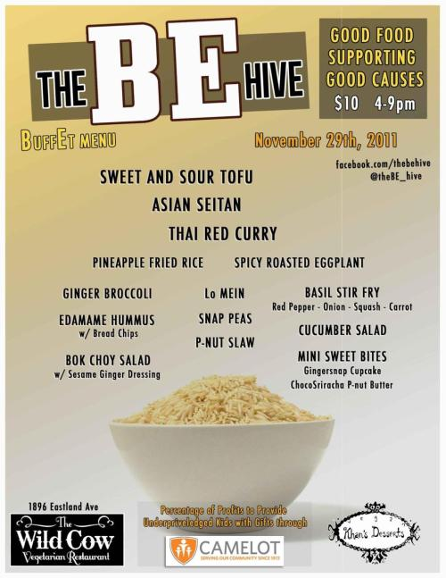 This Tuesday, November 29th, The BE Hive is cooking Asian style and helping give gifts to underprivileged kids. Feel free to stop by The Wild Cow in East Nashville from 4-9pm and dig in. $10 for all you can eat plus it helps a great cause! http://www.facebook.com/thebehivehttp://www.thewildcow.com/