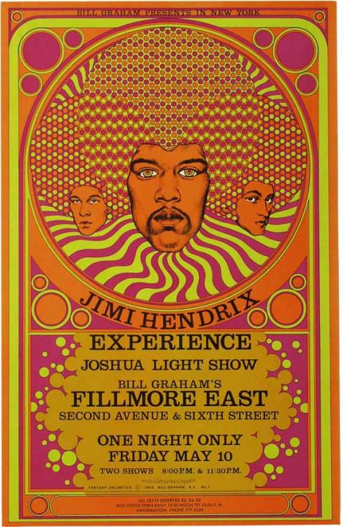 Jimi Hendrix poster from a gig at the Filmore East, May 10th, 1968 Art by David Byrd