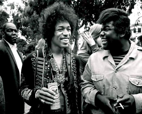 Jimi Hendrix and Buddy Miles at Monterey, 1967 photographer unknown
