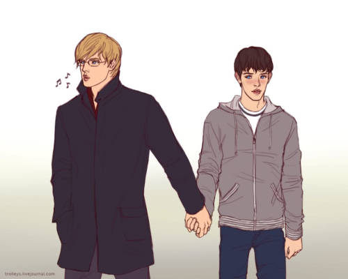 youmayliketotakeaseatsir:  :O If Merthur were around in the 21st Century….