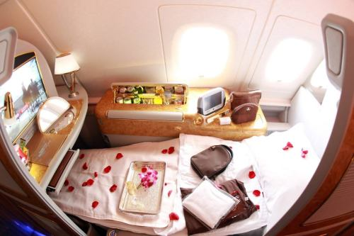 First Class Seat of Emirates Airbus A380. This particular Munich-Dubai flight seat costs about $5000 one-way.