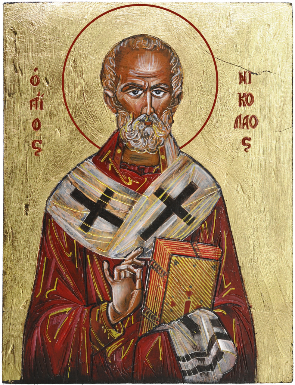 2011 - Saint Nicholas It is part of a series of 4 icons painted at the same time and also it marks a new experiment for me, see the golden lines ? Price 150 RON (in stock)