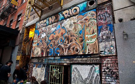 "ABOUT: ABC NO RIO - Photo by Phil Kline ""ABC No Rio is a collectively-run center for art and activism. We are known internationally as a venue for oppositional culture. ABC No Rio was founded in 1980 by artists committed to political and social engagement and we retain these values to the present.""  156 Rivington Street, NYC 10002"