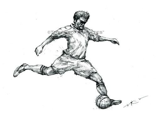 """The Striker"" 8x11.5, pen & ink on heavy drawing paper. Coming soon to The Art of Athletes™."