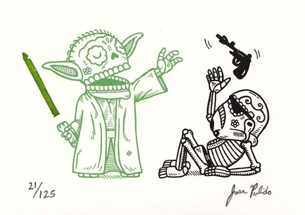 More mexican sugar skull Star Wars art, I want something along these lines tattooed so badly.