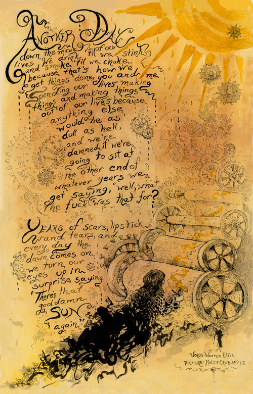 THERE'S THAT GODDAMN SUN AGAIN by molly crabapple & warren ellis[original post; purchase link.][[when the lines found a home in ellis' DOKTOR SLEEPLESS it set my heart a-flutter.]]