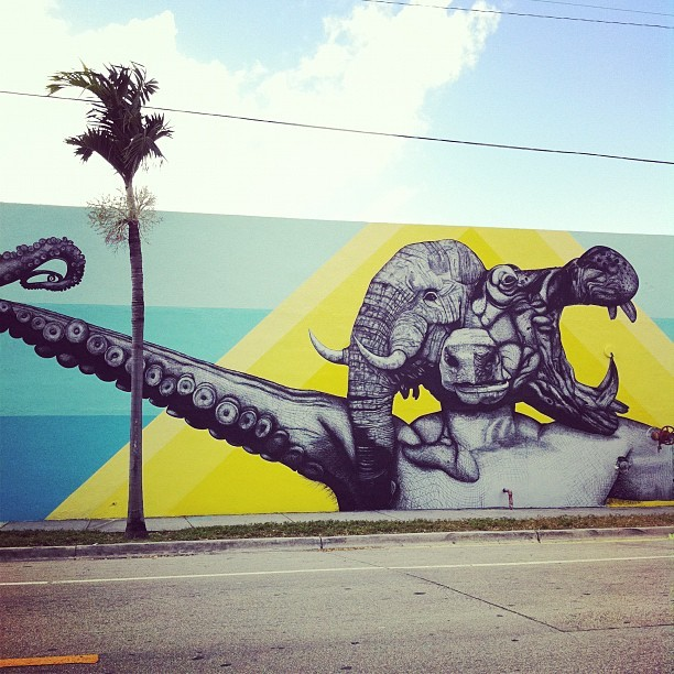 Our buddies La Pandilla and their mural in Wynwood, Miami.  #art #Basel #Wynwood #mural #streetart (Taken with Instagram at 21st and 2nd)
