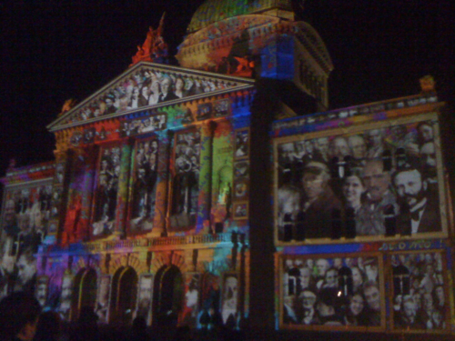 Part of the light show on parliament.