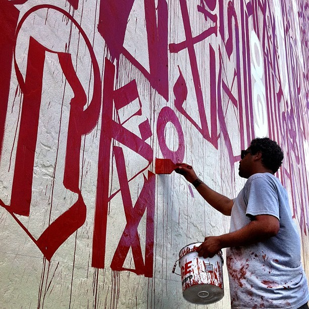 Street Artist Retna at work in Wynwood right now!  #streetart #mural #wynwood #basel #art #streetart  (Taken with instagram)