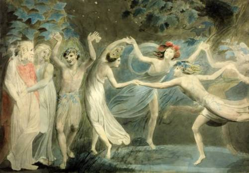 commasplice-:  William BlakeOberon, Titania and Puck with Fairies Dancing  circa 1786