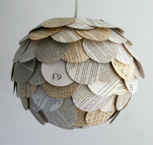 Beautiful Artichoke Pendant Light.  I love the look of newspaper or book pages in decor.  You can buy this book page lamp shade by Zipper8Lighting in their Etsy shop here.