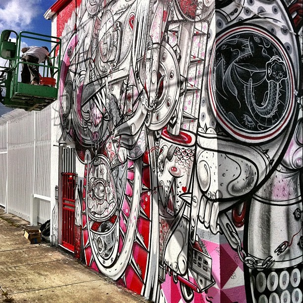 How&Nosm hard at work in Wynwood right now.  #streetart #art #basel #wynwood RIGHT NOW!  #mural #how&nosm #hownosm (Taken with instagram)