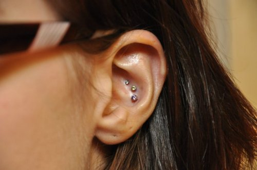 three inner conch piercings done by jill at burly. Black Bedroom Furniture Sets. Home Design Ideas