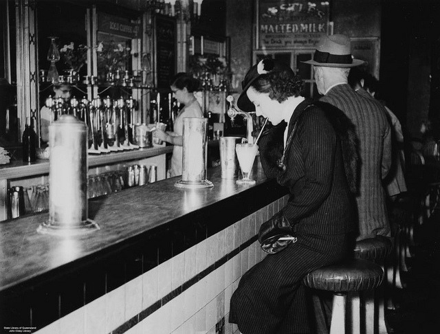 Inside the Regent Theatre Milk Bar, Brisbane, ca. 1936 by State Library of Queensland, Australia on Flickr.