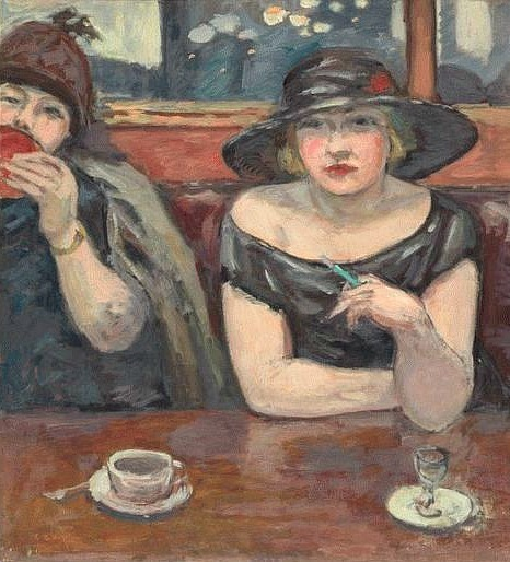 Albert André Ladies at the Café Wepler 1926