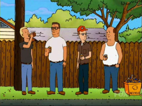 "thatassholefromdaytona:   King of the Hill: The Drinking Game Drink: Anyone says the word ""propane"". Hank gets angry/annoyed with Bobby. When Boomhauer goes on a ramble, start drinking when he starts and keep going until his ramble is over. Every time Bill cries or gets sad take a drink. Whenever Dale talks about a government conspiracy.   lane. come play this with me now. i have netflix and beer."