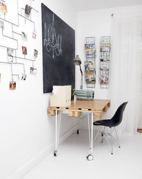 iloveprettypinkthings:  Love this home office with the blackboard - it takes up such little space, so I could even do this in my own home!