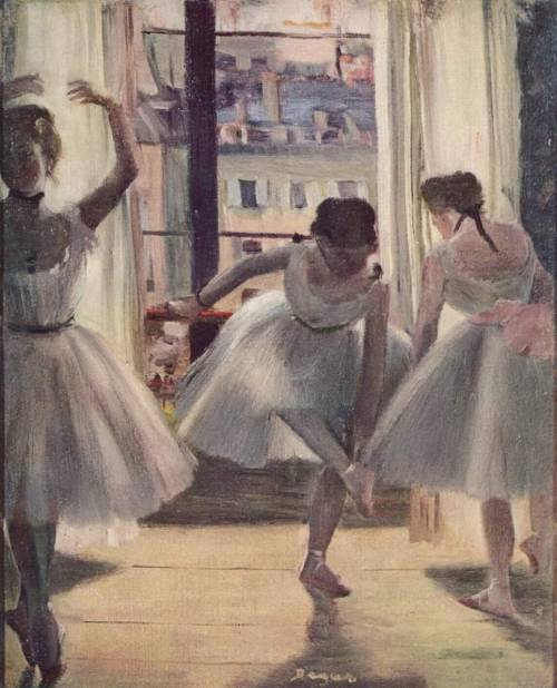 Three Dancers in an Exercise Hall - Edgar Degas, 1873