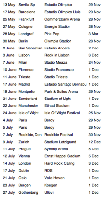 Bruce Springsteen and the E Street Band's 2012 European tour dates have been posted to brucespringsteen.net!