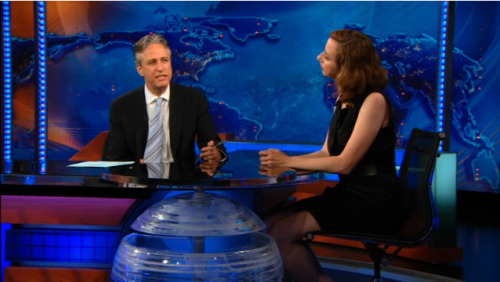 "lafix:  One of the funniest exchanges between Jon Stewart and Kristen Schaal I've ever seen. Kristen:  The ""sending photos of your penis"" craze can be chalked up to an age old misconception that women want more information about your penis and that seeing it will make you more attractive. Jon:  So, that is not the case? Kristen:  No, no. Men need to realize that their penis has more power over them than it does over us. Jon:  To be fair, sometimes women send risque photos to men. Kristen:  Well, the female body is beautiful. Penises look like a species discovered on the ocean floor living near undersea sulphur jets. Jon:  So overall, you'd say the male urge to share visual penis information has had a negative effect. Kristen:  No, not at all. In fact it has been the driving force behind centuries of technological innovation. For example, did you know the lightbulb was first conceived as the penis lamp? Because Thomas Edison realized there were 12 hours in every day when women couldn't see his penis."